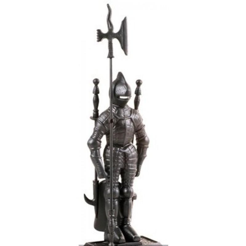 Набор каминный D50011ВК - Рыцарь (4 предмета, 79см, черный), на подставке