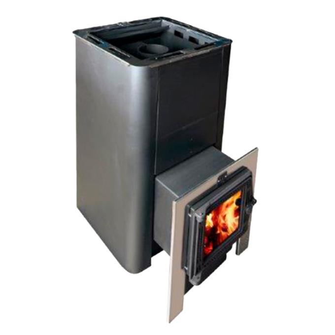 Банная печь КОНВЕКТИКА Олимп 20-26 (чугунная дверца+стекло+парогенератор)
