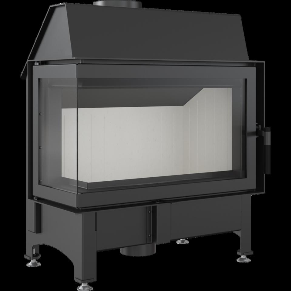 Каминная топка стальная Zibi/L/BS (угловое стекло слева) (11 кВт)