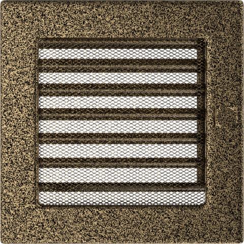 Вентиляционная решетка Черная/Золото с задвижкой (17*17) 17CZX