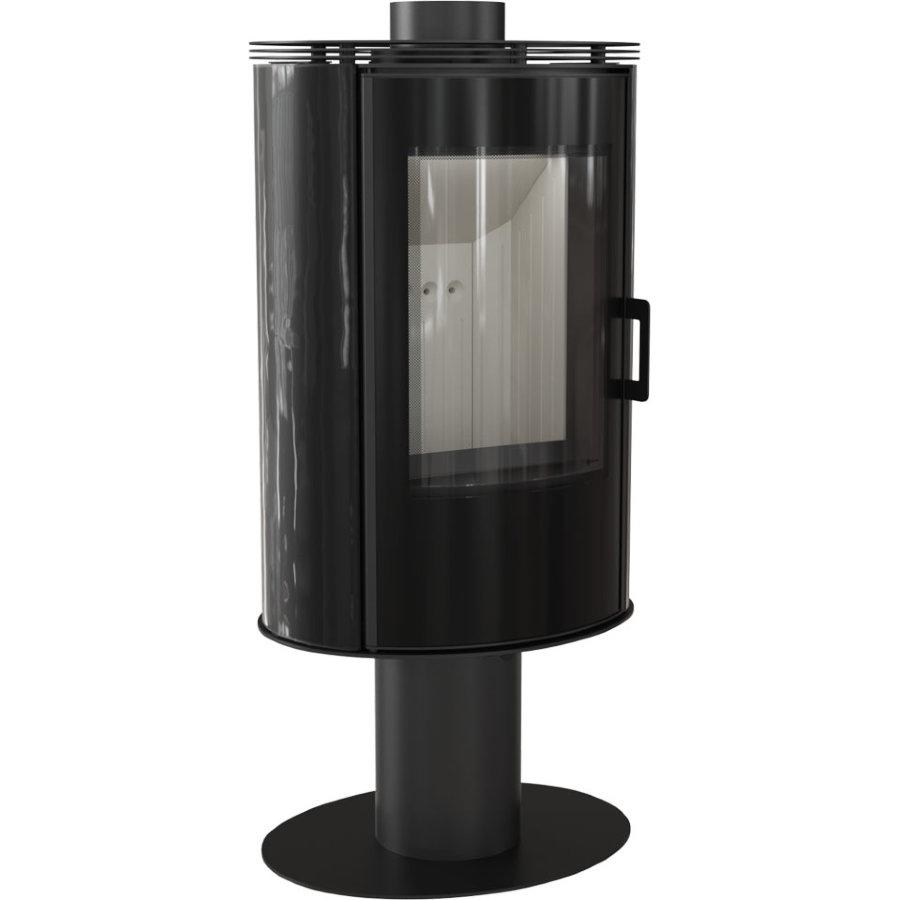Печь-камин Kratki KOZA/AB/S/N/O/GLASS/KAFEL/CZARNY (сталь, кафель черный/красный, поворотная) (8 кВт)