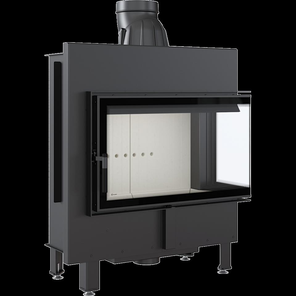 Каминная топка стальная LUCY/14/P/BS (угловое стекло справа) (14 кВт)