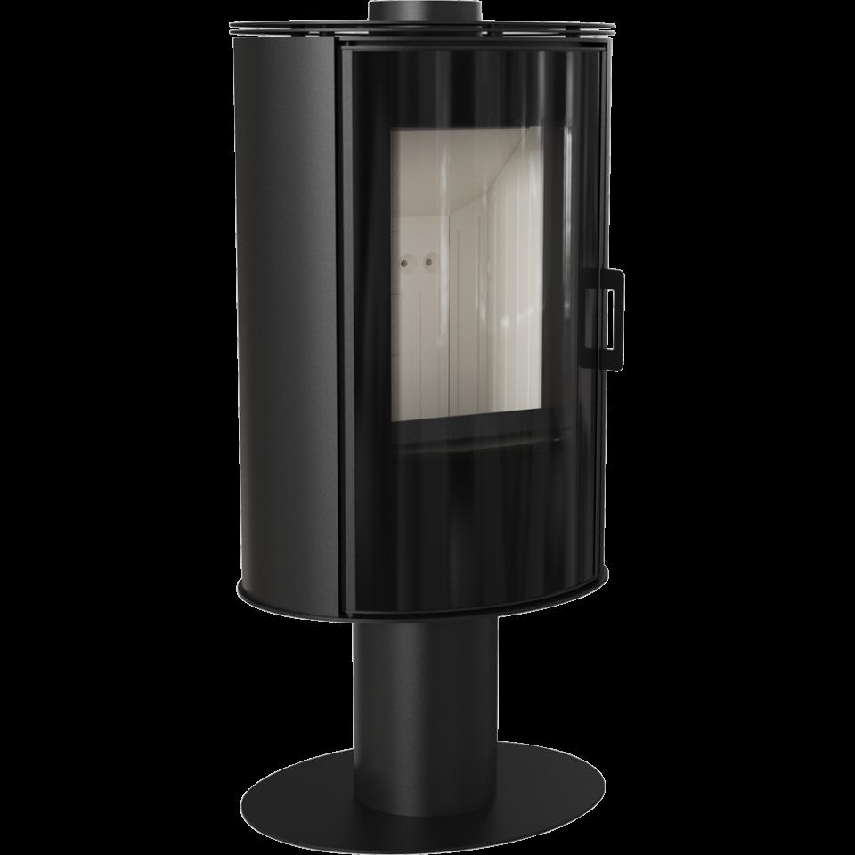 Печь-камин KOZA/AB/S/N/O/DR/GLASS (сталь, поворотная) (8 кВт) 528*1125*422мм