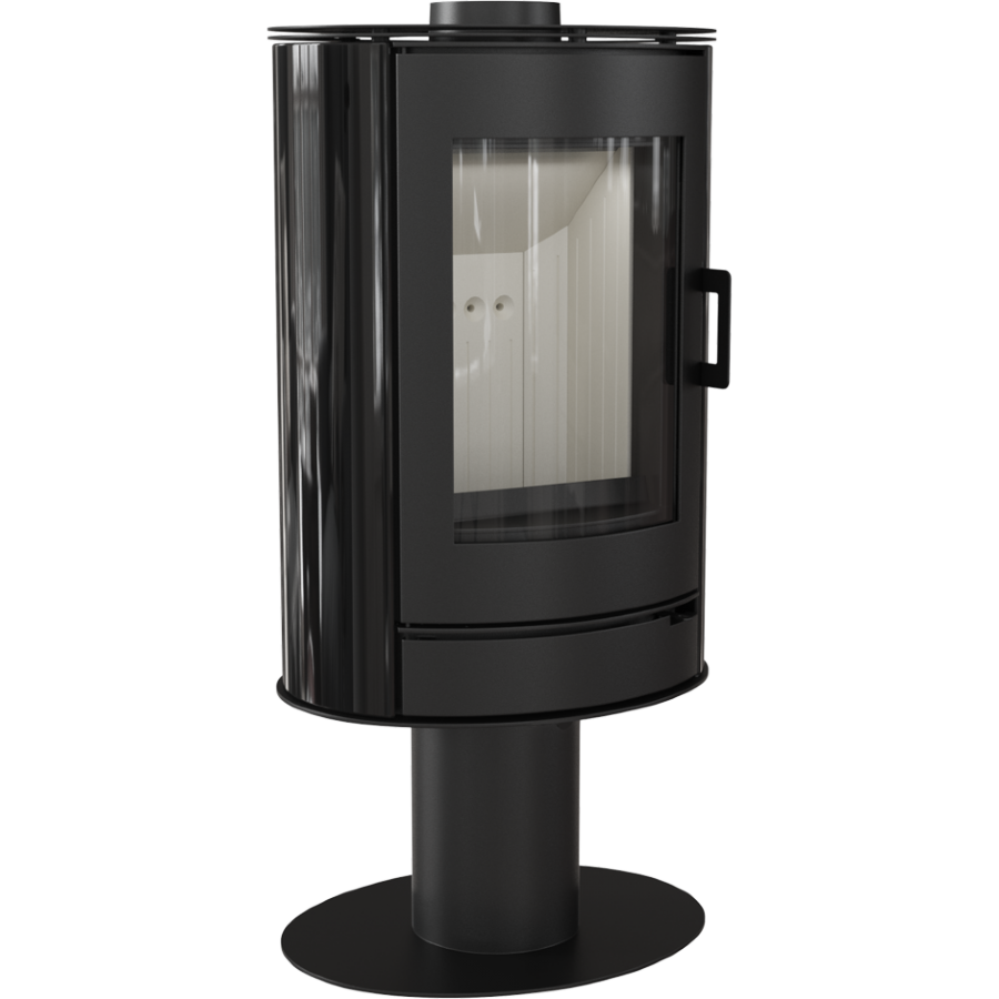 Печь-камин KOZA/AB/S/N/O/DR/KAFEL/CZARNY (сталь, кафель черный, поворотная) (8 кВт)