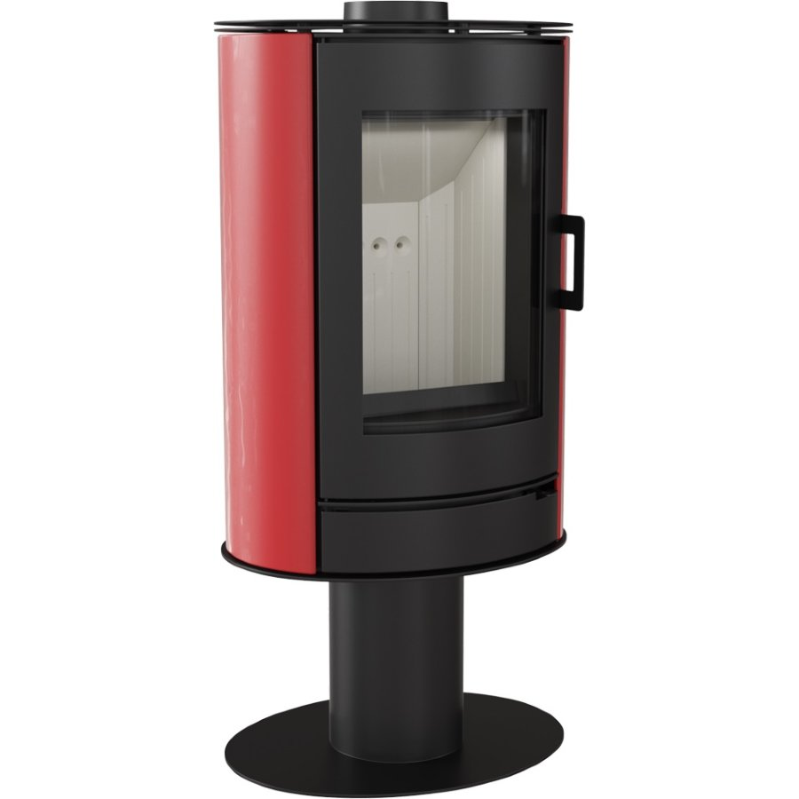 Печь-камин KOZA/AB/S/N/DR/KAFEL/CZERWONY (сталь, кафель красный) (8 кВт) 528*1086*422мм
